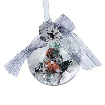 397-234  Подвеска шар прозрачный с принтом 8 см, пластик, стразы, декор