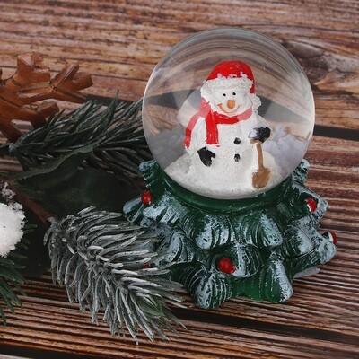 396-543  Шар снежный на ёлке, 7,5 см, полистоун, 2 дизайна
