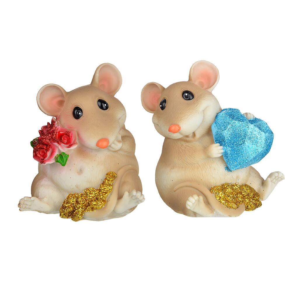 398-296  Сувенир в виде мышки с сердцем, полистоун, 10,8х9х8,5 см, 2 дизайна