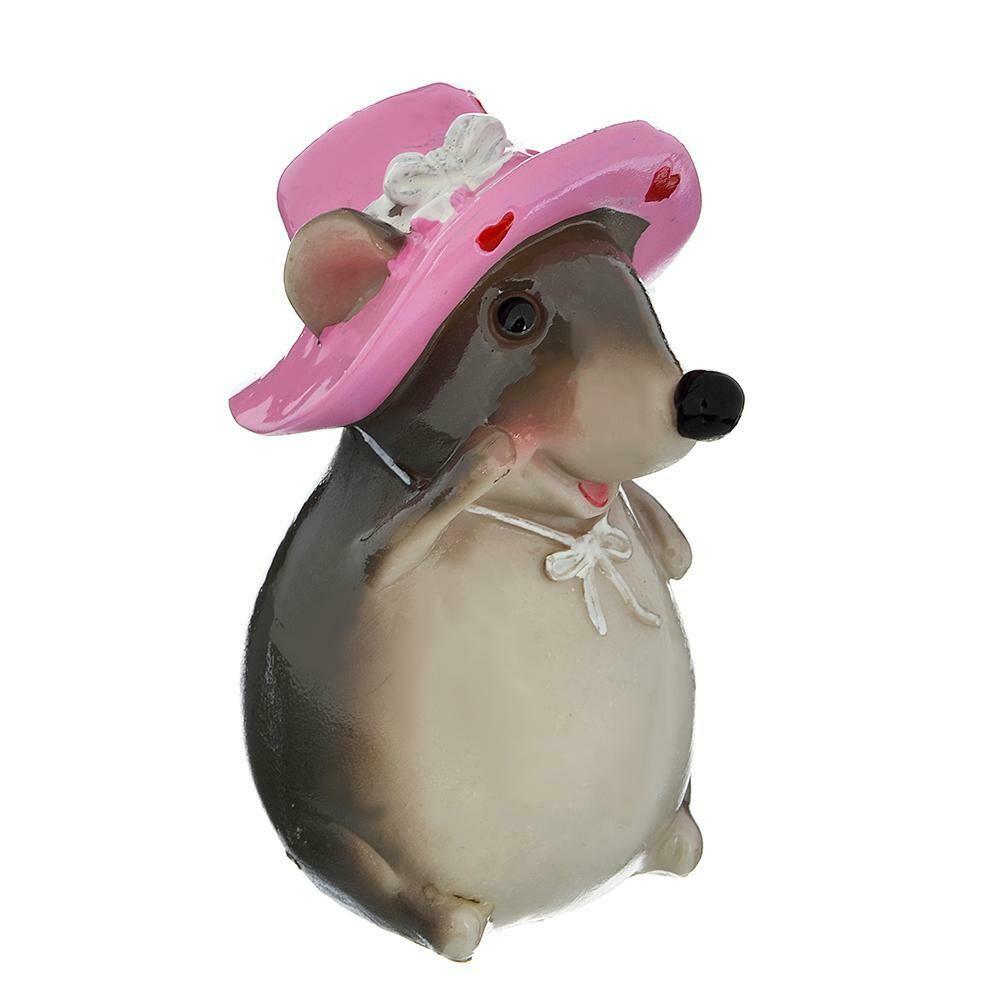 398-307  Сувенир в виде мышки в шляпке, полистоун, 11х9х6,5см, глазурь