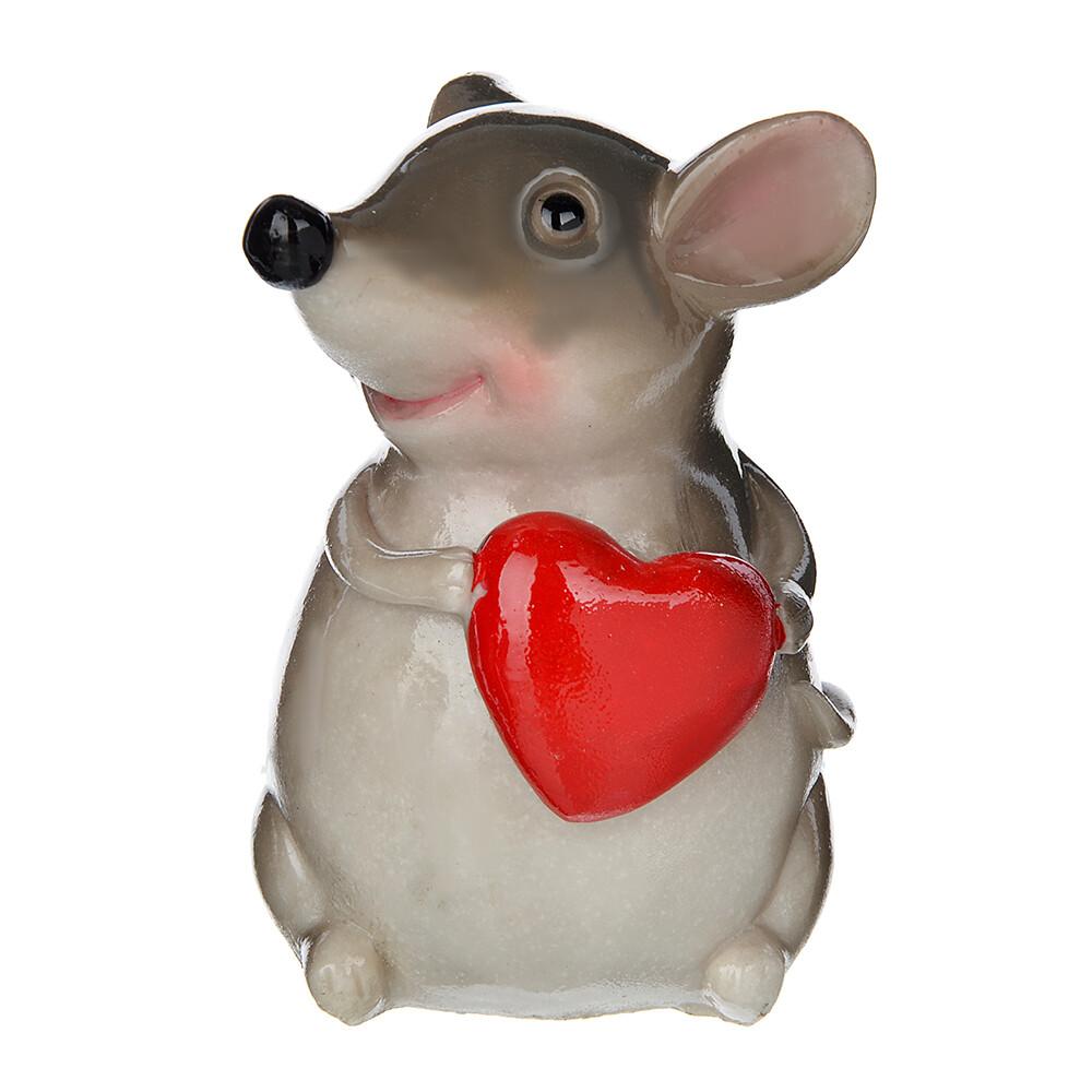 398-306  Сувенир в виде влюбленной мышки, полистоун, 9,5х7х6,5см, глазурь