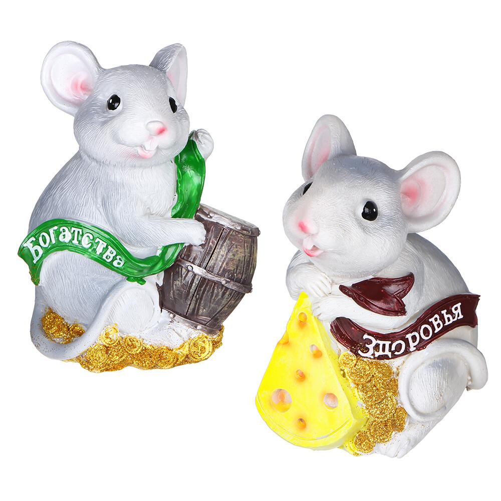 359-738 Сувенир в виде мышки, 11,5х10х8 см полистоун, 4 дизайна