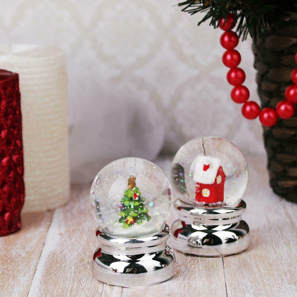 """396-544  Шар снежный, 6,3 см, полистоун, """"Зимний"""", 2 дизайна на серебре"""