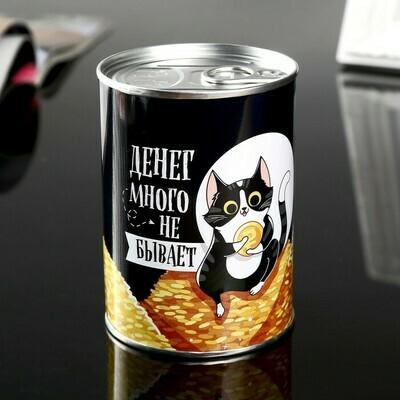 "4344931 Копилка металл банка ""Денег много не бывает"" 10х7,3х7,3 см"