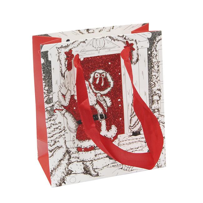 15221 Пакет подарочный новогодний с блестками,  Размер: 12*14*6 см