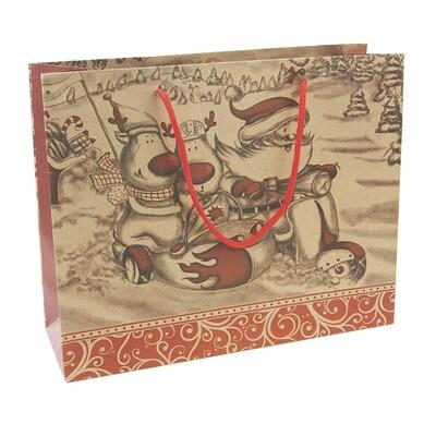 15258 Крафт-пакет подарочный новогодний , Размер: 37*49*11,5 см, Размер: 31*25*10 см