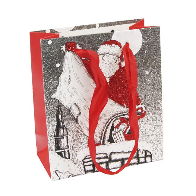 15222 Пакет подарочный новогодний с блестками , Размер: 12*14*6 см