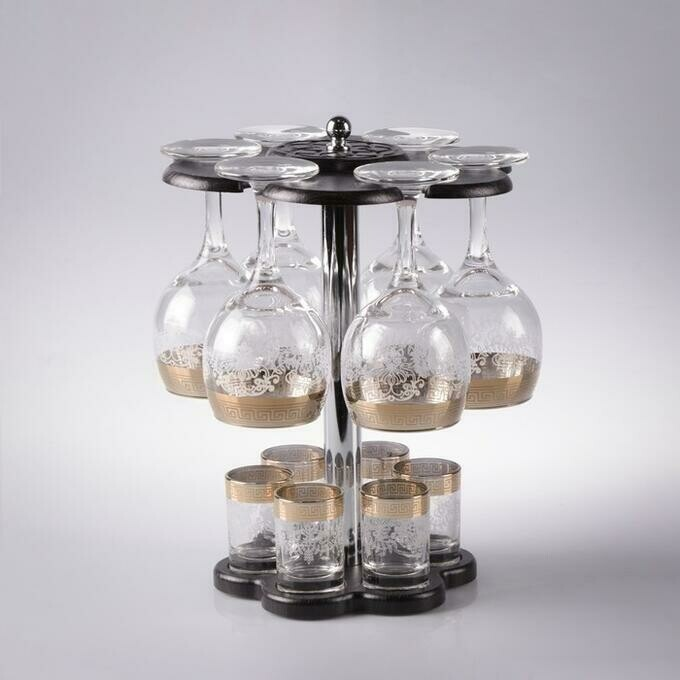"1515641 Мини-бар ""Изящный"", 12 предметов, под вино, гравировка 240/50 мл"