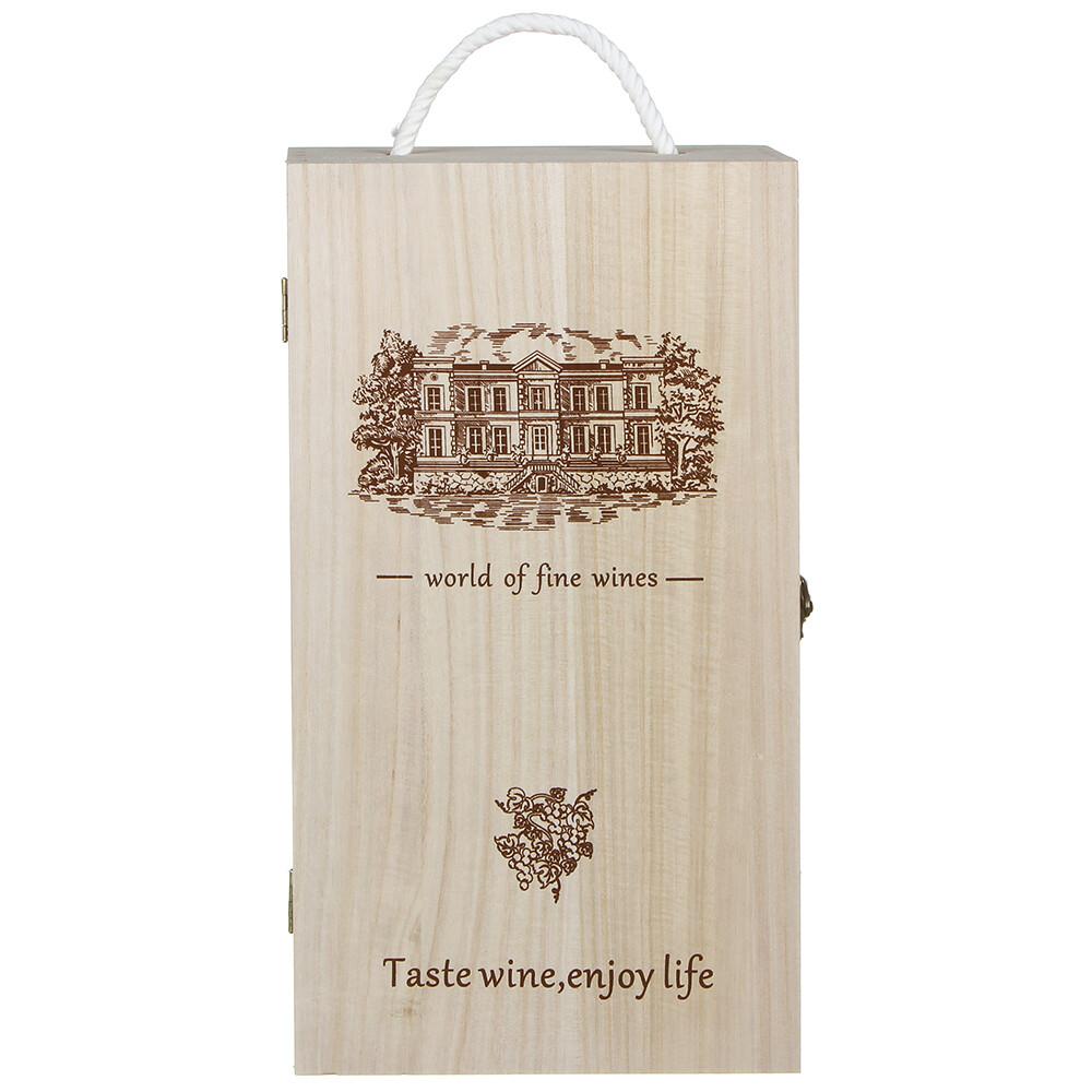504-626 Коробка для вина подарочная на 2 бутылки, 35х9,5х19 см, дерево
