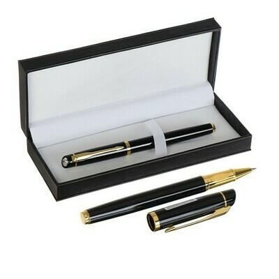 4351705 Ручка подарочная шариковая в кожзам футляре Кортеж корпус черно-золотистый
