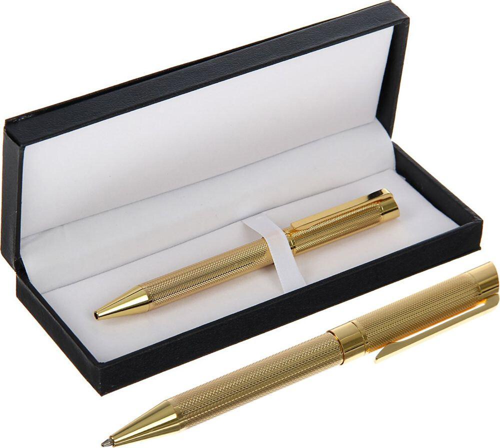 2415298 Ручка подарочная шариковая в кожзам футляре поворотная VIP корпус золотой
