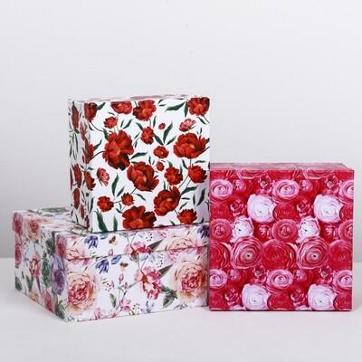 4319266 Набор подарочных коробок 3 в 1 «Цветы», 18 × 18 × 10‒22 × 22 × 12 см