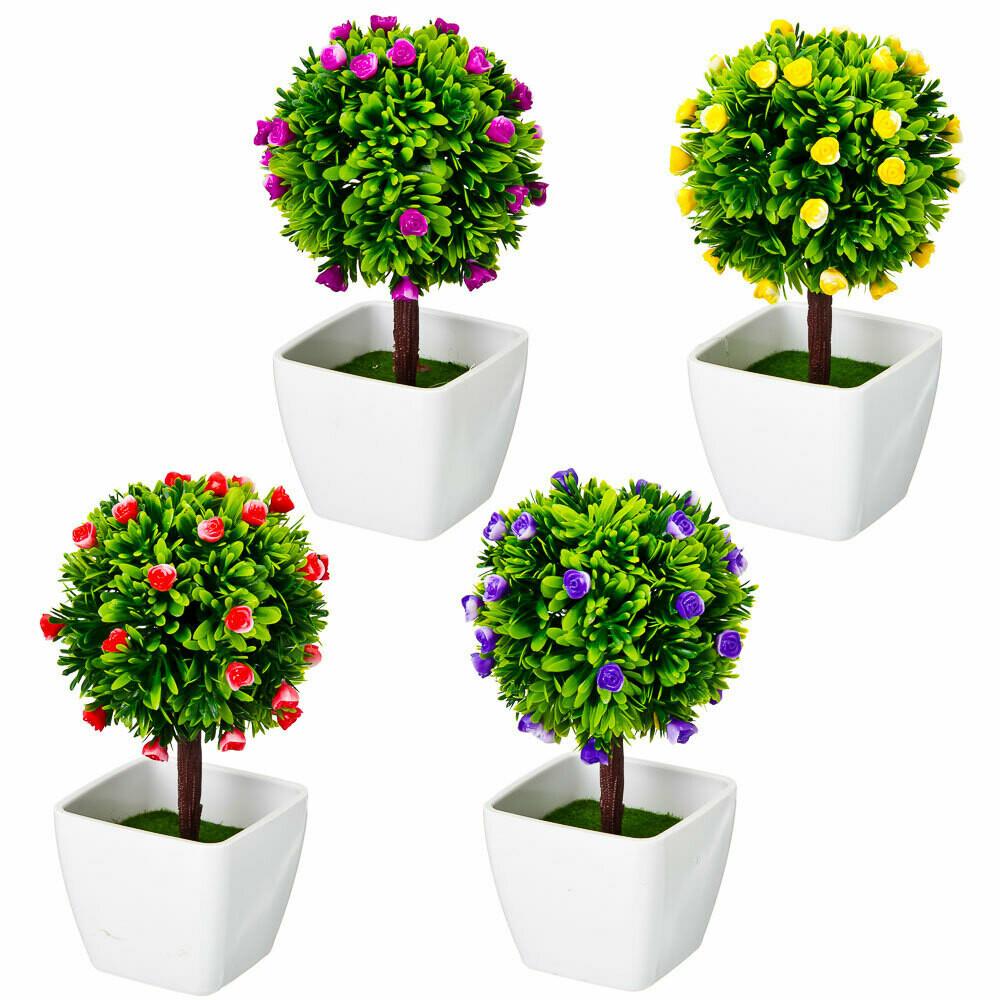 501-443 Цветок декоративный в горшке Цветочная коллекция, пластик, 18,5х10х10 см, 4 цвета