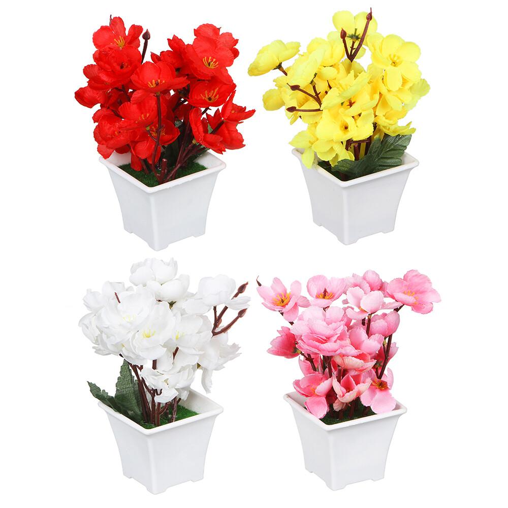 501-460 Цветок искусственный декоративный в горшке, 17х8х8 см, пластик, 4 цвета