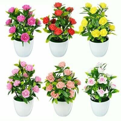 501-472 Цветок искусственный декоративный в горшке, 25,5х9,5 см, пластик, 6 цветов