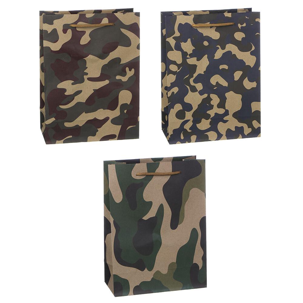 505-072 Пакет подарочный бумажный, крафт, 18х24х8,5 см, 3 цвета