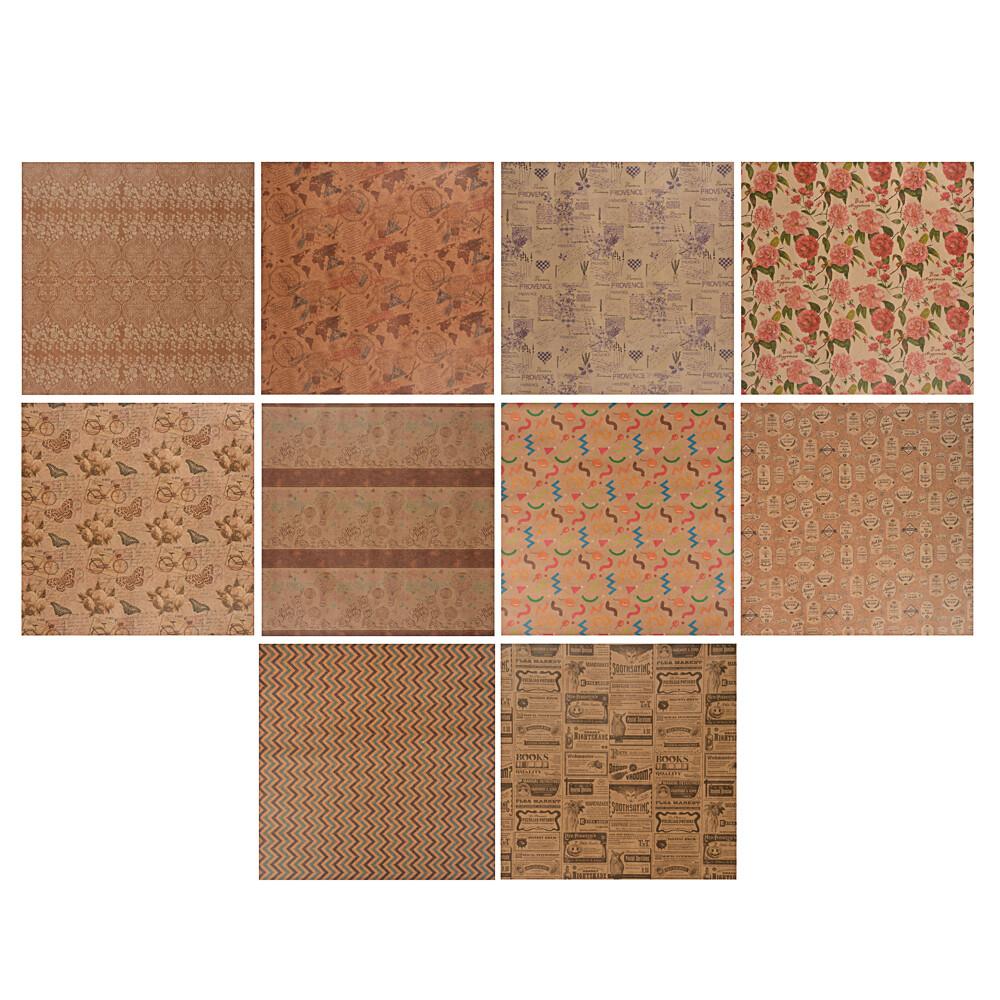 507-977 Бумага упаковочная 70х100 см, крафт, 10 дизайнов