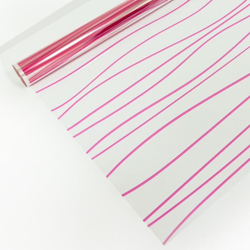 """3324626 Плёнка для цветов """"Полосы розовые"""", 0,72 х 7,5 м, 40 мкм, 200 гр"""