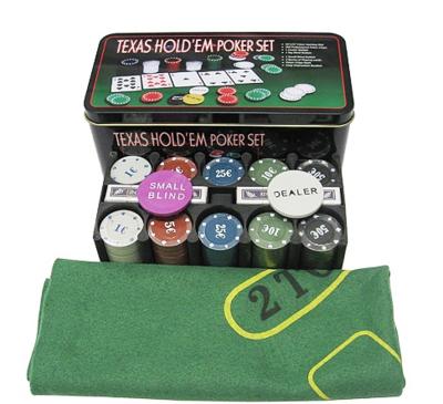 Покерный набор на 200 фишек с номиналом в металлической коробке