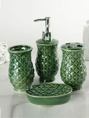 3025944 Набор для ванной 4 предмета (дозатор, мыльница, 2 стакана), цвет зелёный