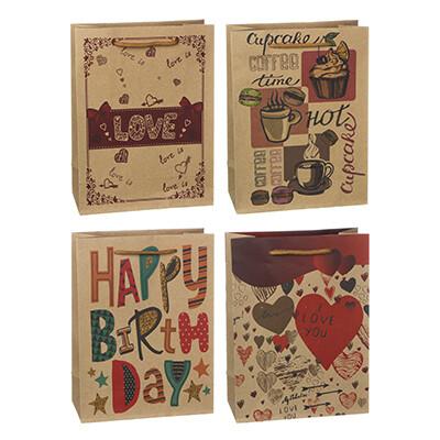 505-077 Пакет подарочный бумажный, крафт, 23,5х31,5х8,5  см, 4 дизайна, слова