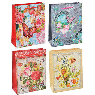 507-993 Пакет подарочный, высококачественная бумага с глиттером, 18х23х8 см, 4 цвета, арт 3-4