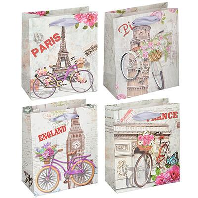 507-980 Пакет подарочный, высококачественная бумага, 12х14х6 см, 4 цвета, арт 1