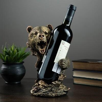 """4241546 Подставка под бутылку """"Медведь"""" бронза 15х16х25см   4241546"""