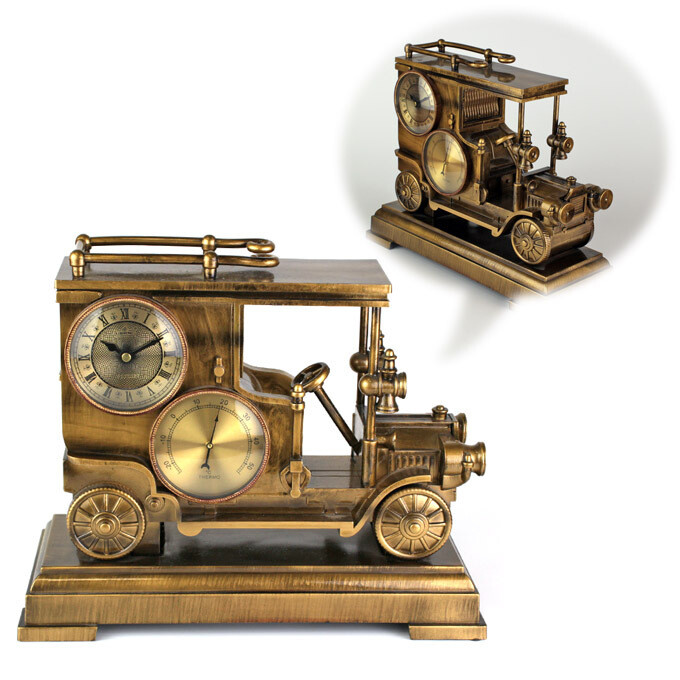 """51063 Часы с термометром """"Старинный автомобиль"""", 28*12*23 см"""