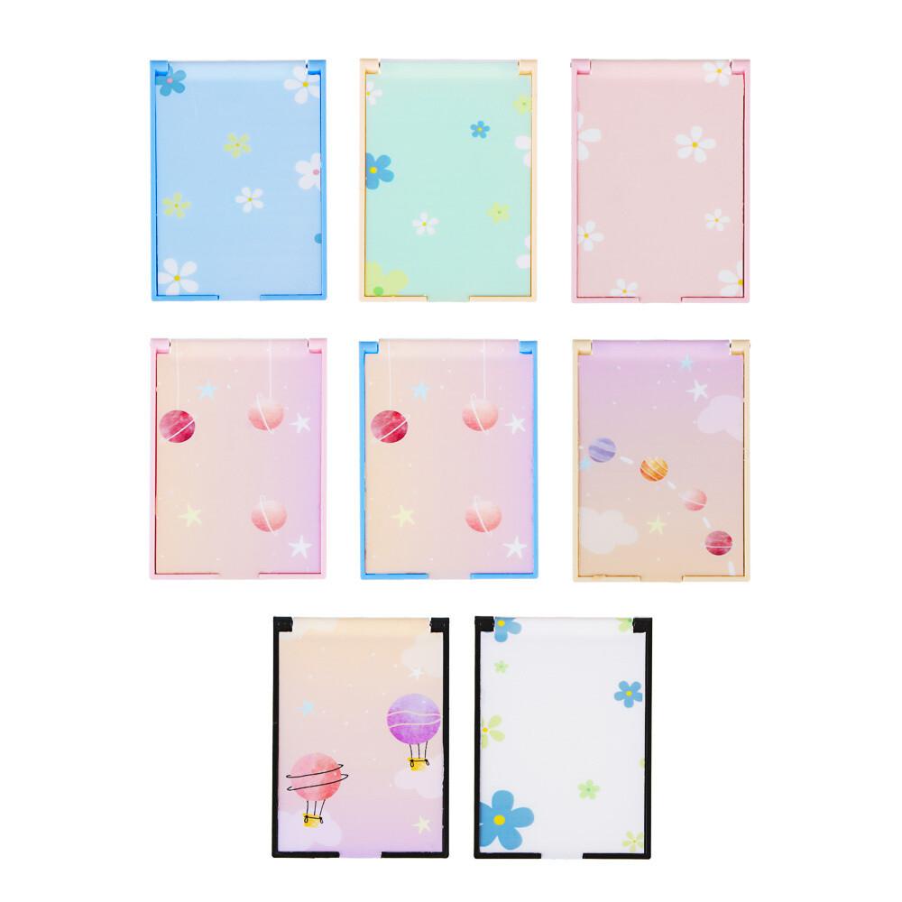 301-147 Зеркало карманное прямоугольное, пластик, 6,2х9,2см, 4-8 дизайнов, GC-028