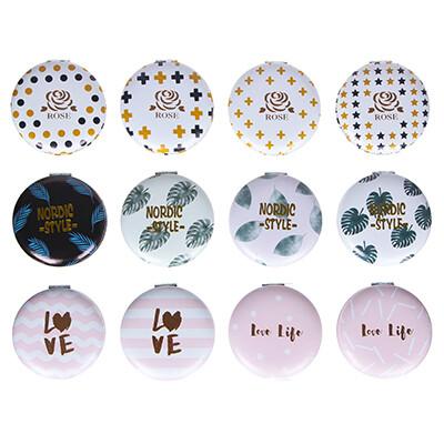 301-237 Зеркало карманное, d=7см, ПУ, сплав, 3-12 дизайнов