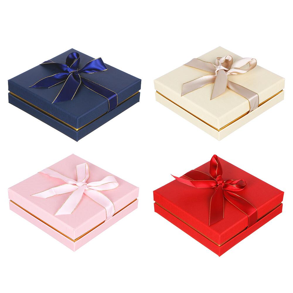 207-055 Коробка подарочная с бантом, 17х17х5 см, 4 цвета,
