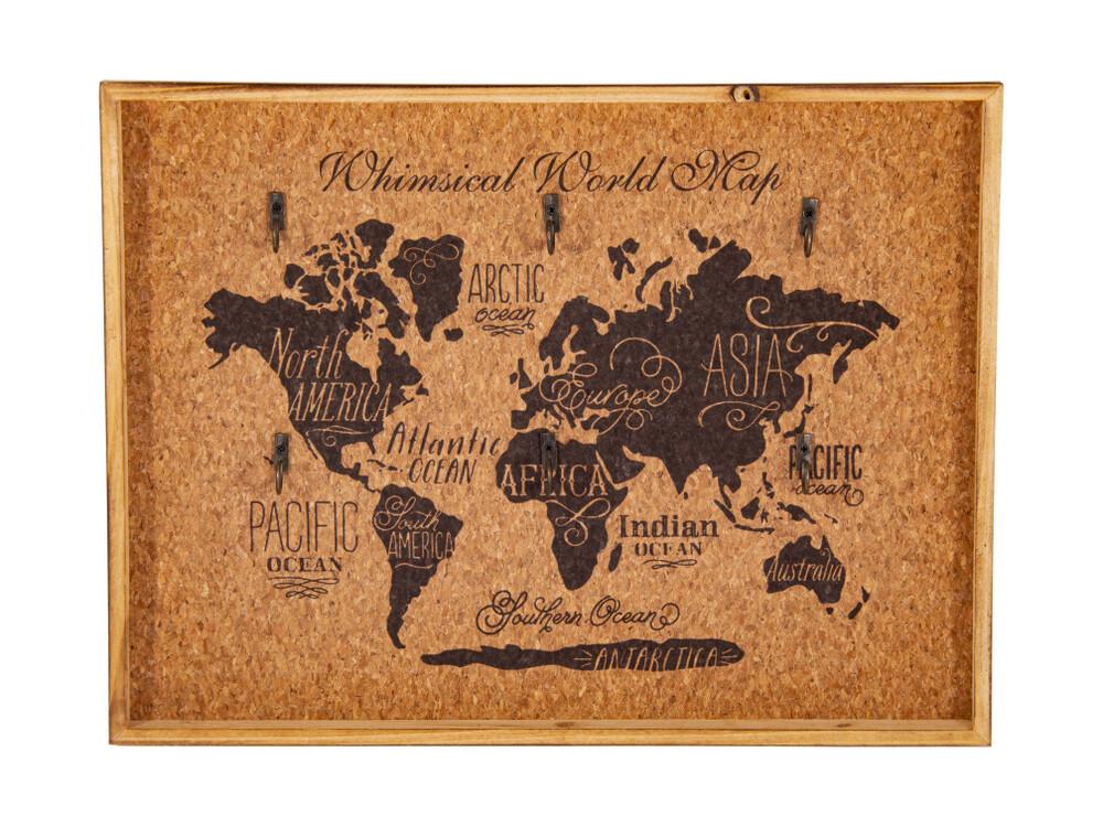 "138932 Ключница ""Карта мира"" 40*3*30см"