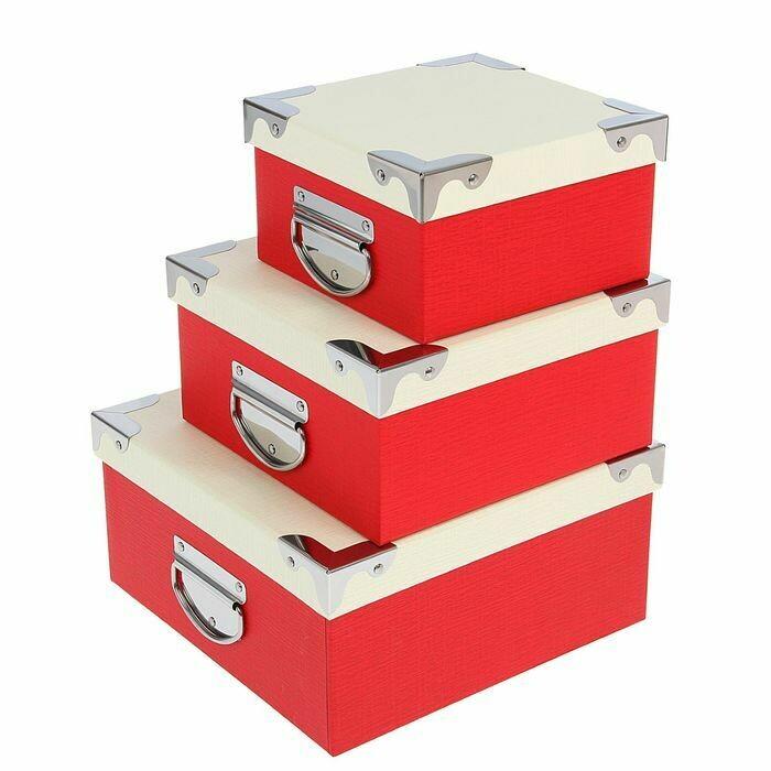 1535830 Набор коробок 3 в 1 квадратные 25*25*12,5/21*21*10/17*17*10 см белый