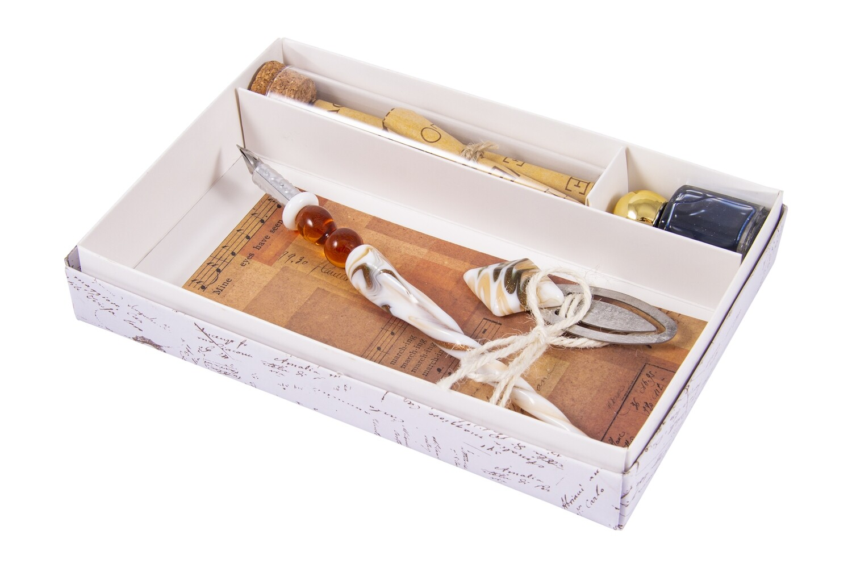 38578 Подарочный набор для письма: перьевая ручка, закладка, блокнот, чернилами 19*13*2 см