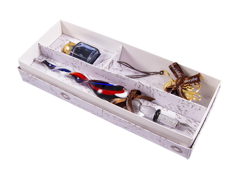 38574 Подарочный набор для письма: перьевая ручка, чернила, закладка 22*9*2см