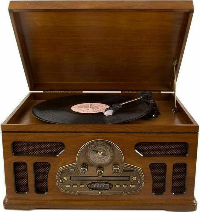98827 Музыкальный центр-ретро с пультом: AM/FM, CD, MP3, USB, SD