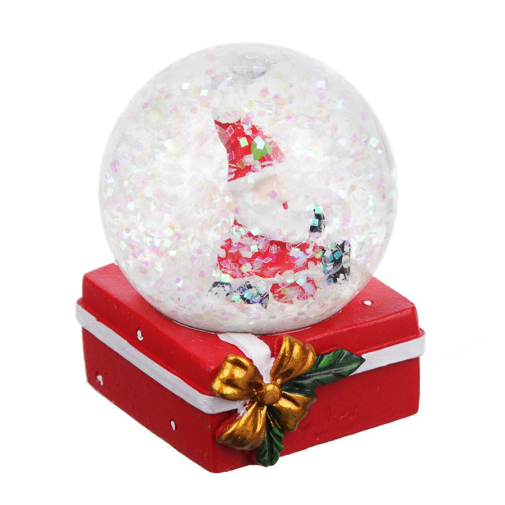 """396-603 СНОУ БУМ Снежный шар 4,5х4,5х6см, полистоун, """"Дед Мороз на подарке"""""""