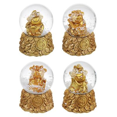 359-772 СНОУ БУМ Снежный шар Символ Года 2021, полистоун, 6,2х4,5см, бронза, 4 дизайна