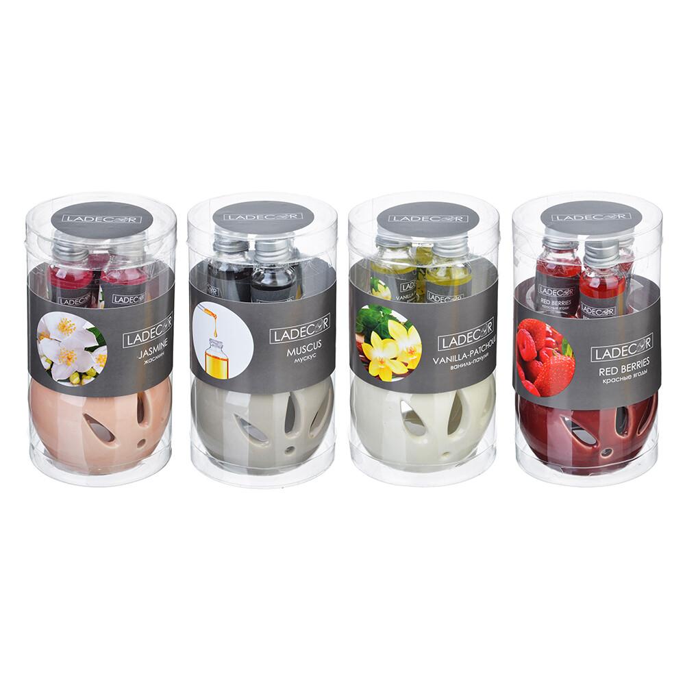 412-017 LADECOR Ароманабор лампа и масло, 3штx10мл, с ароматами красных ягод, ванили-пачули,жасмина,