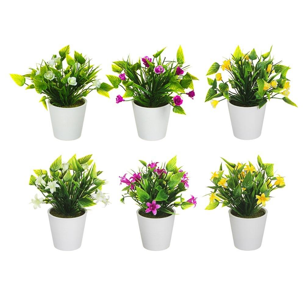 501-511 LADECOR Цветок искусственный в горшке, 18х12х12см, пластик, 6 цветов, 2 вида