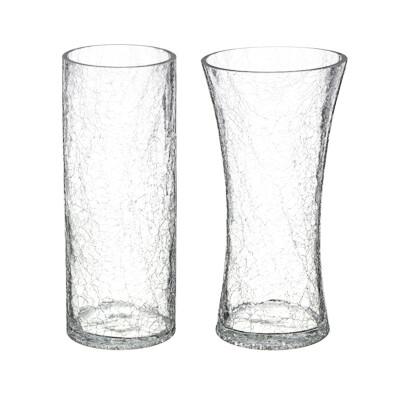 502-676 Ваза стеклянная с эффектом битого стекла, 25х10 см