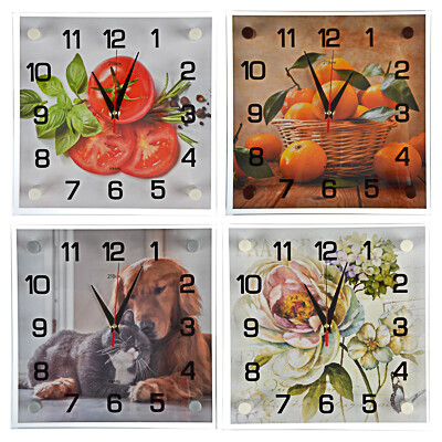 581-819 Часы настенные, 25х25см, стекло