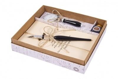 38579 Подарочный набор для письма: перьевая ручка, блокнот, лупа, чернила 16*16*2см
