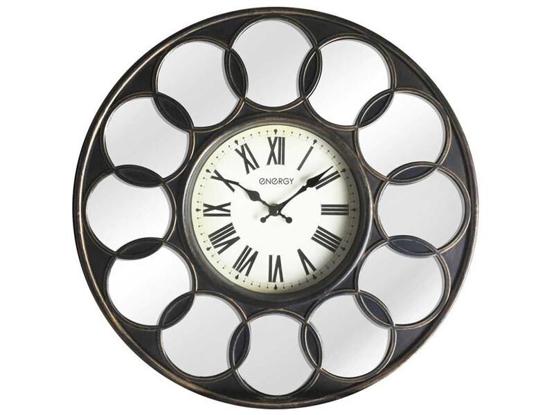 EC-122 Часы настенные Energy круглые, зеркальные вставки