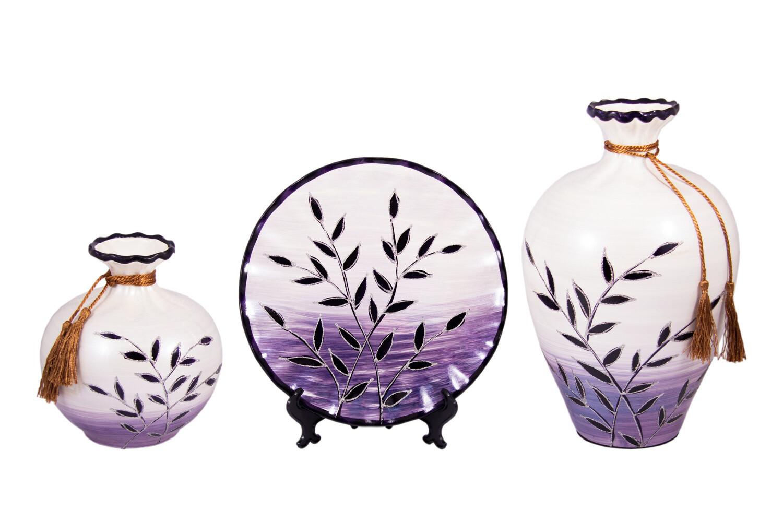 114919 Подарочный набор: тарелка декор. 26см, ваза 26см, ваза 34см