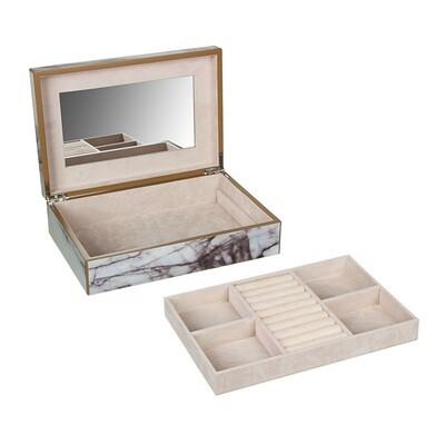 504-674 Шкатулка для украшений 30х20х8см, дерево,полиэстер, картон, зеркало