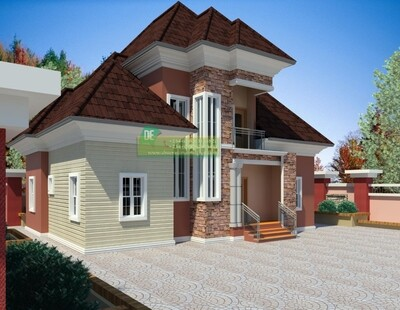 3 Bedroom Bungalow with Penthouse Floorplans with Key Construction Materials Estimate | Nigerian House Plans