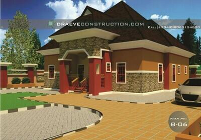 3 Bedroom Bungalow Floor Plan with Key Construction Materials Estimate | Nigerian House Plans