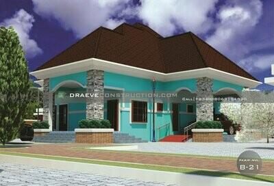 4 Bedroom Bungalow Floorplan with Key Construction Materials Estimate | Nigerian House Plans